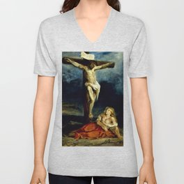 Eugene Delacroix - Saint Mary Magdalene At The Foot Of The Cross - Digital Remastered Edition Unisex V-Neck