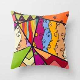 African Style No14, Tribal dance Throw Pillow