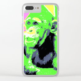 Pop Art Young Chimp Clear iPhone Case