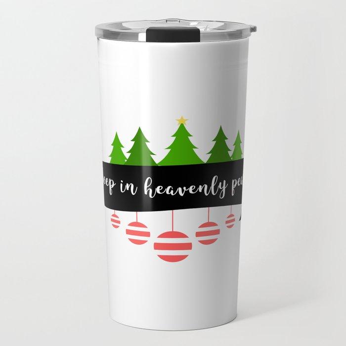 Silent Holy Night Sleep Heavenly Peace Christmas Tree Tinsel Design Travel Mug