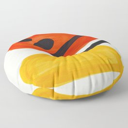 Colorful Mid Century Modern Abstract Fun Shapes Patterns Space Age Orange Yellow Orbit Bubbles Floor Pillow