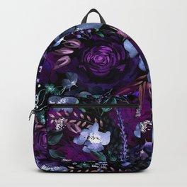 Deep Floral Chaos blue & violet Backpack