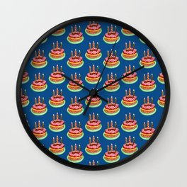Birthday cake in watercolor Wall Clock