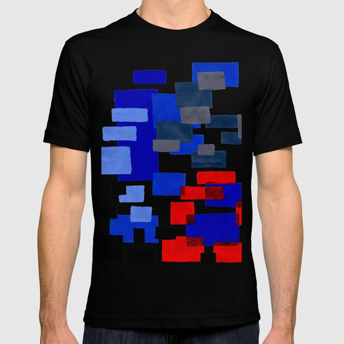 Modern Mid Century Abstract Geometric Cube Square Acrylic Painting Blue With Red Accents T-shirt