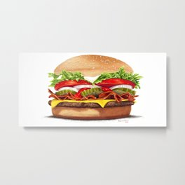 Bacon Cheeseburger by dana alfonso Metal Print