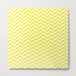 Lemon Yellow Herringbone Pattern Metal Print