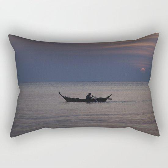 Rowing into the sunset II Rectangular Pillow