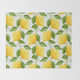 Watercolor Lemons Throw Blanket