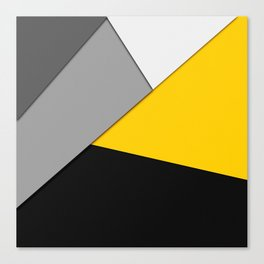 Simple Modern Gray Yellow and Black Geometric Canvas Print