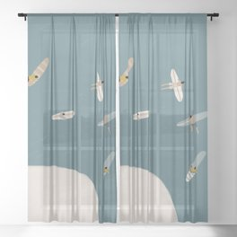 Surfers Surfing at the Sea Sheer Curtain