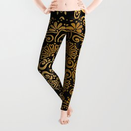 Sophisticated Black and Gold Art Deco Pattern Leggings