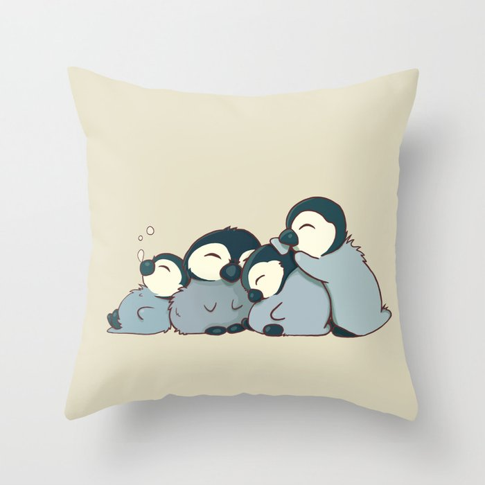 Pile of penguins Throw Pillow