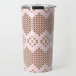 Brown and Pink Knit Travel Mug