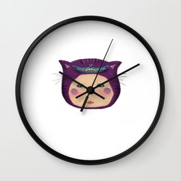 alice purple cat Wall Clock