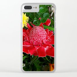 Red Torch Ginger Flower Clear iPhone Case