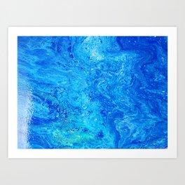 Deep Swimming Blue #buyart #abstract #acrylicart #swimming Art Print