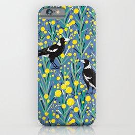 Magpie in wattle garden iPhone Case