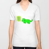 dino V-neck T-shirts featuring Dino by @DrunkSatanRobot