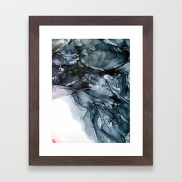 Dark Payne's Grey Flowing Abstract Painting Framed Art Print
