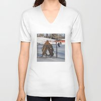 outdoor V-neck T-shirts featuring Outdoor hockey rink by RMK Photography