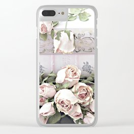 Shabby Chic Dreamy Pink Roses Cottage Floral Decor Clear iPhone Case