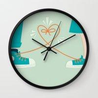 sneaker Wall Clocks featuring Sneaker Love by Walker Ballantyne - Hill