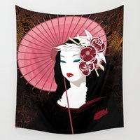 mona lisa Wall Tapestries featuring Mona Geisha Lisa by DesignDinamique
