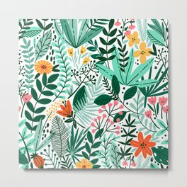 Tropical forest hand drawn illustration pattern Metal Print
