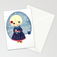 Rosy Snowflakes Stationery Cards