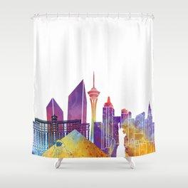 Las Vegas Landmarks Watercolor Poster Shower Curtain