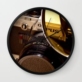 Old Camera with Magnifying Glass Wall Clock