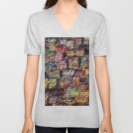 City Landscape of the Colored Himalayan Houses of Shimla, India by Jeanpaul Ferro Unisex V-Neck