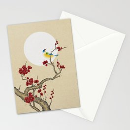 Plum blossoms, bird and the moon Type E (Minhwa: Korean traditional/folk art) Stationery Cards