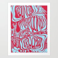 phish Art Prints featuring Bouncing Around the Room in Red and Blue by Alex Boucher