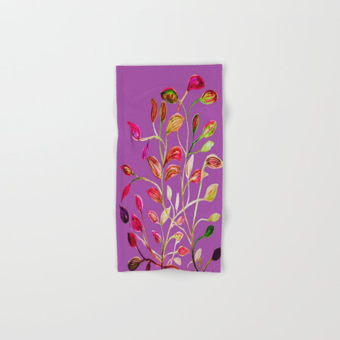 For Valentine's Day Enjoy Purple Plum, Red and Green Leaves! Hand & Bath Towel