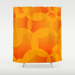 Abstract soap of orange molecules and bubbles on a fruity background. Shower Curtain