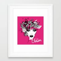 fashion illustration Framed Art Prints featuring fashion illustration by Irmak Akcadogan