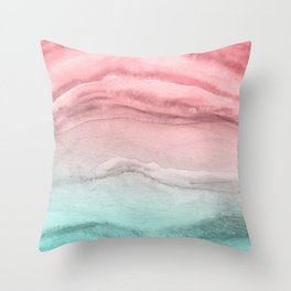 Agate Pattern Large - Pink Green Throw Pillow