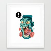 zombie Framed Art Prints featuring Zombie. by Rachel Alderson