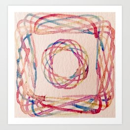 Spirograph watercolor print Art Print