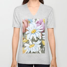 Summer Floral Watercolour Bouquet Unisex V-Neck