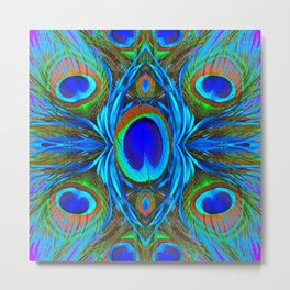 BLUE  PEACOCK EYE FEATHER ABSTRACT Metal Print