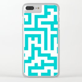 White and Cyan Labyrinth Clear iPhone Case