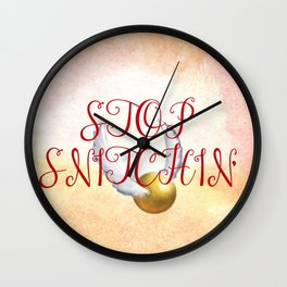 """Stop Golden Snitchin'"" Print Blue/Gold 2/2 Wall Clock"