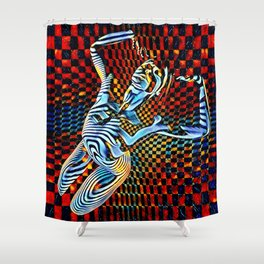 0465-MM_4533 Op Art Nude Blue Striped Figure over Checkerboard Shower Curtain