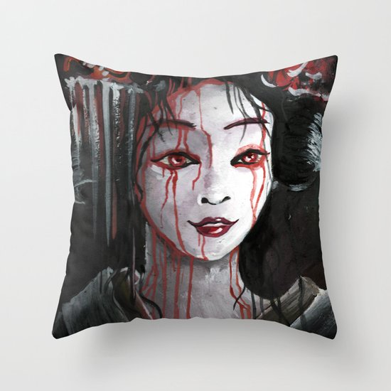 Geisha in Blood: The unwiling Concubine Throw Pillow