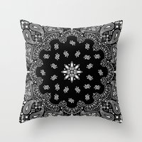 moschino Throw Pillows featuring black and white bandana by Marta Olga Klara