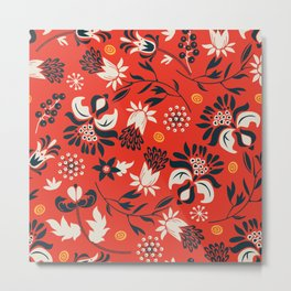 victorian floral | red Metal Print