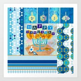 happy hanukkah collage Art Print