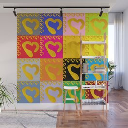 Gold Hearts on colorful Stamp Wall Mural